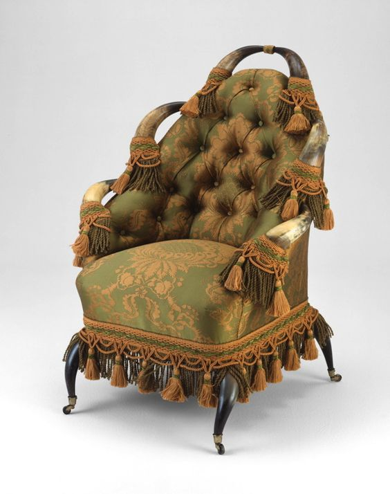 1870-1880 American Armchair at the Art Institute of Chicago, Chicago - Okay...I've seen stag-antler chairs before (including one belonging to Prince Albert in the Royal Collection Trust), but this is the first time I've seen a similar piece made with steers' horns.