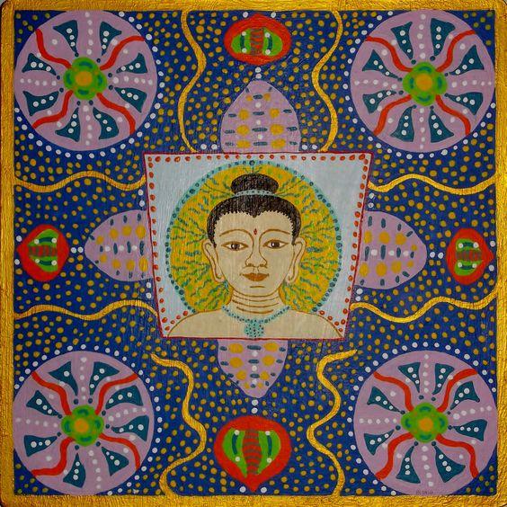 Mandala VIII (Cabeza de Buda). Acrílico sobre tabla   21.5x21.5cm  30€