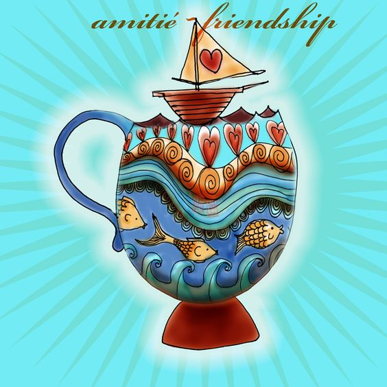 """Who would agree that some ships are better than others? Cheers to all the great friends who help us sail through life and stay on course :) The best ship is """"friendship!"""" What my #coffee says to me June 27."""