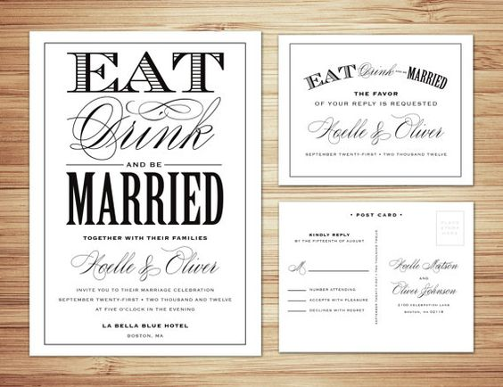Non Traditional Wedding Invite Wording: Eat Drink And Be Married Wedding Invitation & Response