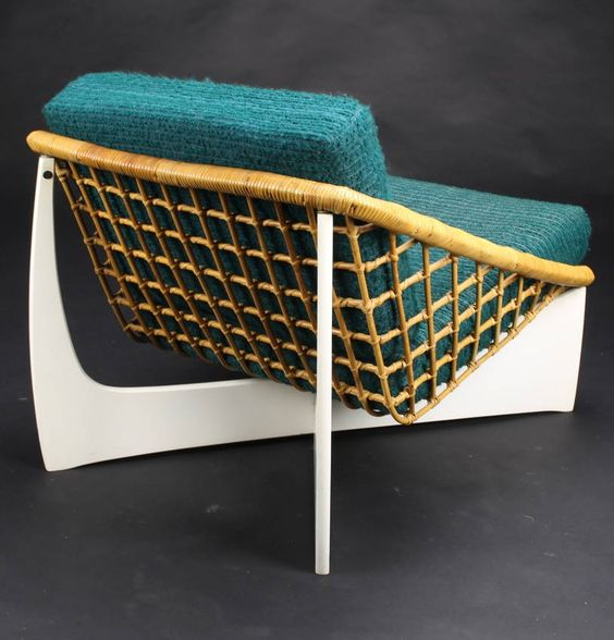 Anonymous; Lacquered wood & rattan lounge chair by Pastoe, ca. 1960.