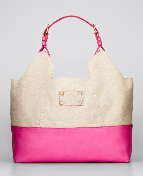 Linen and Leather Hobo Bag