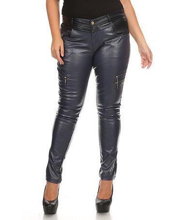 Love this Navy Zip-Accent Jeans - Plus on #zulily! #zulilyfinds