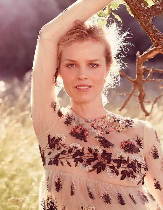 Eva Herzigova by David Burton for Elle Italia August 2015 - Valentino Pre-Fall 2015 dress: