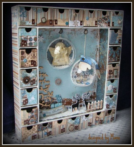 un calendrier de l 39 avent shabby vintage bleu brun beige dor 3d calendrier avent. Black Bedroom Furniture Sets. Home Design Ideas