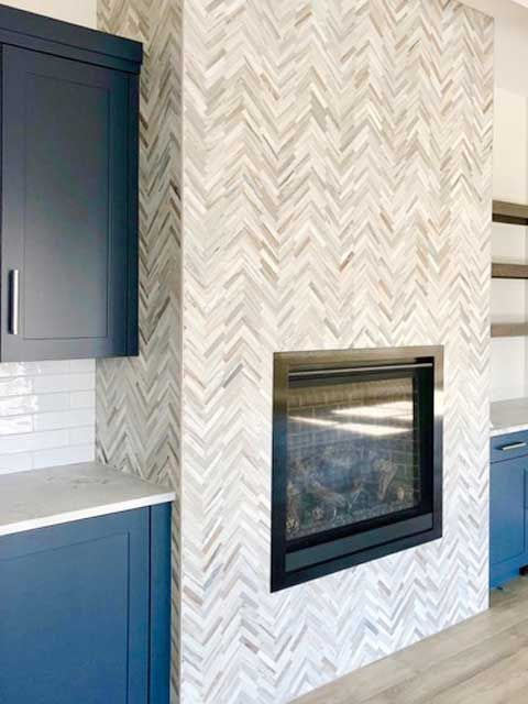 Skyline Polished Marble Marble Systems Inc Dark Blue Kitchens Fireplace Herringbone Fireplace