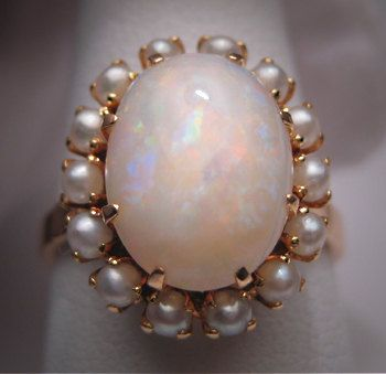 Antique Opal Seed Pearl Ring Vintage Victorian 14K Gold #antique #OpalRings #OpalJewelry