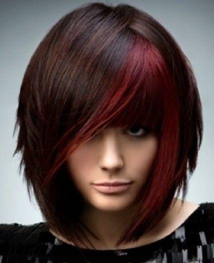 LOVE this - brown hair red bangs