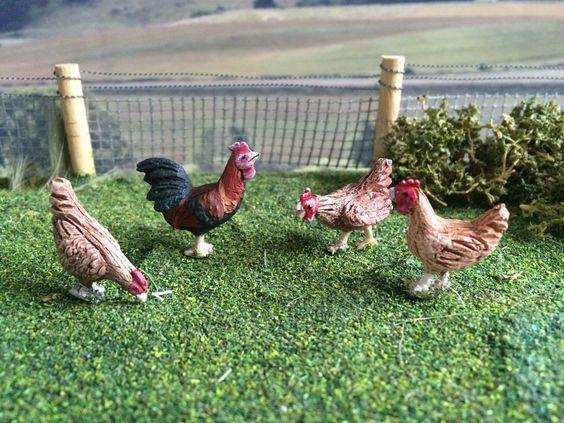 WELSUMMER COCKEREL & HENS SET 1:32 SCALE POULTRY FOR BRITAINS FARM DIORAMA | eBay