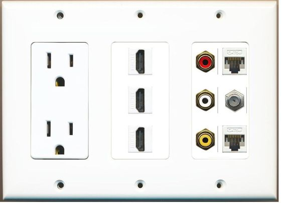 (3 GANG OUTLET)  3-HDMI Composite 3-RCA A/V 2 Cat5e Ethernet Coax TV Wall Plate #RiteAV