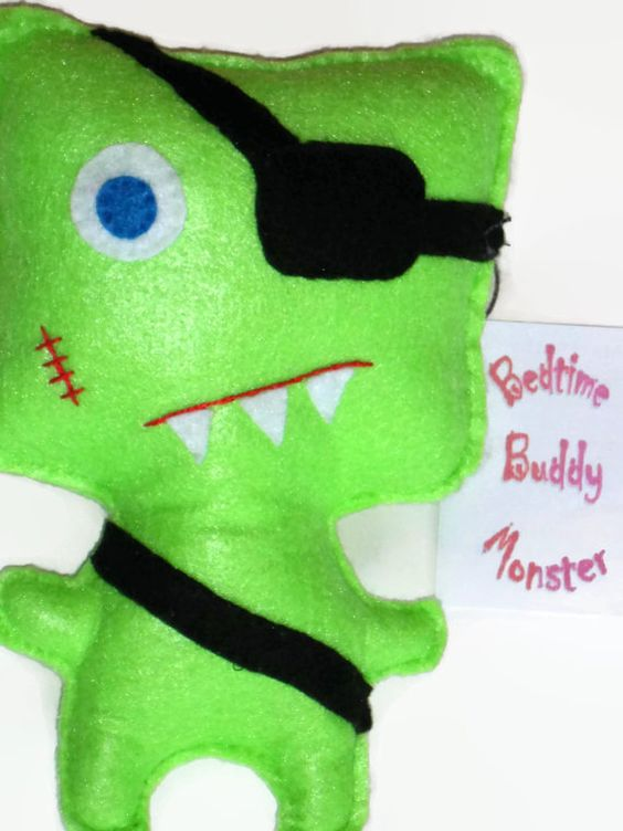 Bedtime Buddy Monster  Green w/Eye Patch by KentsKrafts on Etsy, $14.00