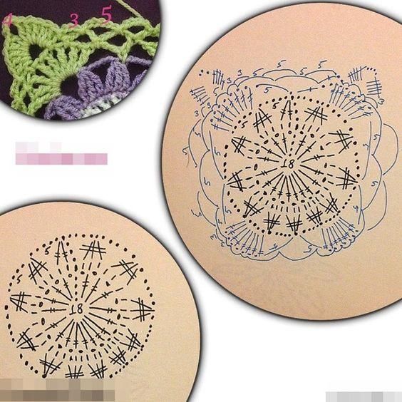 보라색 꽃이 어울리는 손뜨개 쿠션 도안 두가지에요~ 공감/이웃추가 하셨죠?