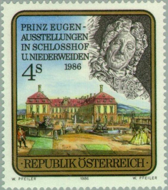 Sello: Prince Eugen of Savoy (1663-1736) & Schlosshof Castle (Austria) (Exhibition 'Prinz Eugen') Mi:AT 1845,Yt:AT 1674,ANK:AT 1876