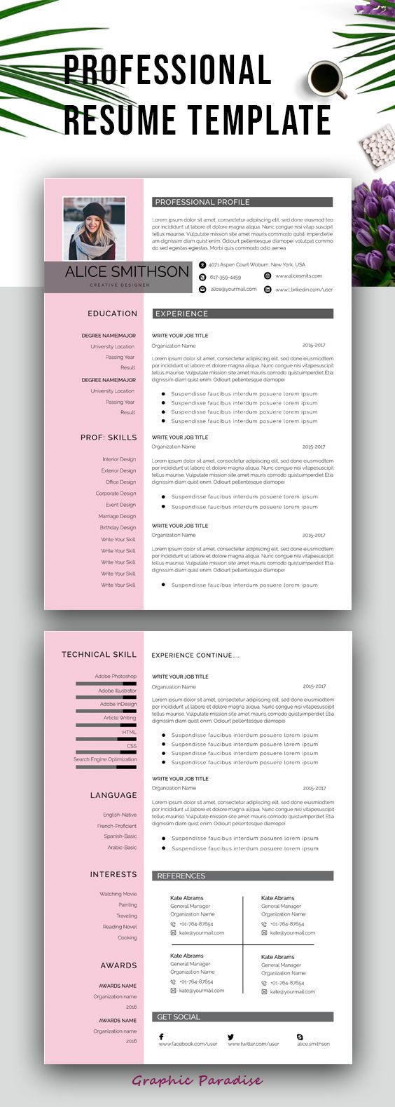 Resume Template Professional Resume Template Instant Download Resume With Photo Resume Design Resume Template Word Curriculum Vite Cv Resume Template Professional Resume Template Resume Template Word