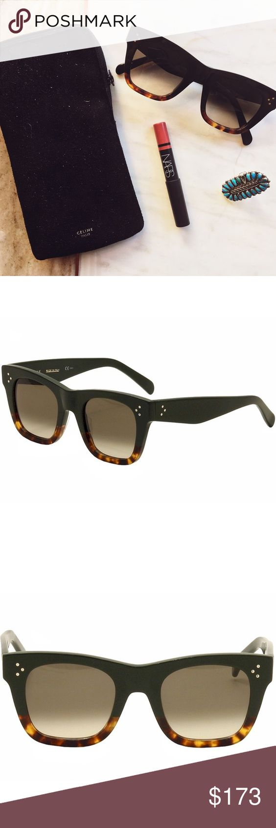 Céline Catherine Wayfarer Cat-eye Sunglasses Original Céline CATHERINE SMALL CL 41089/S Sunglasses. women's model , cat eye shape, 2016 Céline collection. acetate-rimmed glasses, black tortoise/grey brown shaded colour.  Selling as I thought I lost these, loved them so much and bought a second pair, and just found the originals. Condition is good with a few very light scratches on the lenses. Surface scratches throughout on the frames. Celine Accessories Glasses
