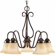 For the Dining room Volume Lighting V3355 Minster 5 Light 1 Tier Chandelier with Sandstone Glass Bell Shade at LightingDirect.com.