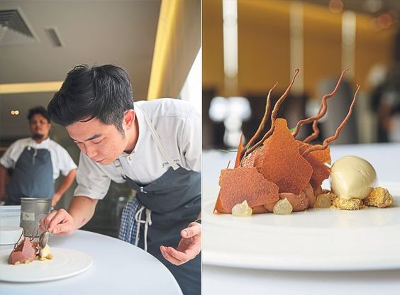 Adding the pisang goreng ice-cream, which is made from blended deep fried bananas to the smoked chocolate dessert (left). One of Dewakan's desserts is the smoked chocolate with banana that combines smooth smoked chocolate chantilly cream with nutmeg syrup, sprigs of dill and a pisang goreng ice-cream (right)