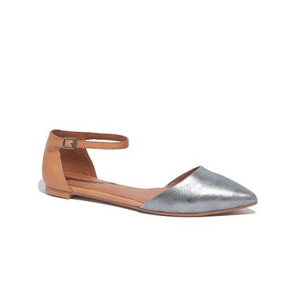 "This sharply shaped skimmer has a sleek pointed toe and a slender ankle strap. Especially cool in two-tone leather. Please note: When you select your size below, ""H"" equals a half size.  <ul><li>Leather upper and lining.</li><li>Man-made sole.</li><li>Import.</li></ul>"