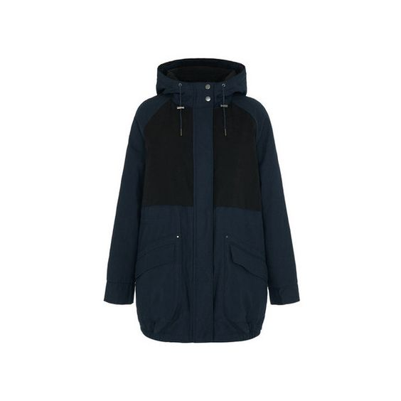 Parka London Catelyn Contrast Parka (€85) ❤ liked on Polyvore featuring outerwear, coats, navy, hooded parka, hooded coat, lined parka, navy coat and navy blue parka