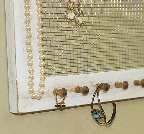 Jewelry Holder Shabby Vintage White Crystal Knobs by GardenCricket, $36.00