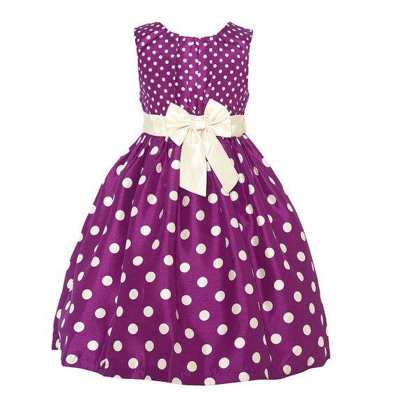 Trendy dress with a fitted bodice, a voluminous skirt and a wine pop of color from designer Mia Juliana. The dress features little ivory polka dots on the sleeveless bodice and bigger ones on the flared skirt bringing out a cute visual effect. Ivory ribbo