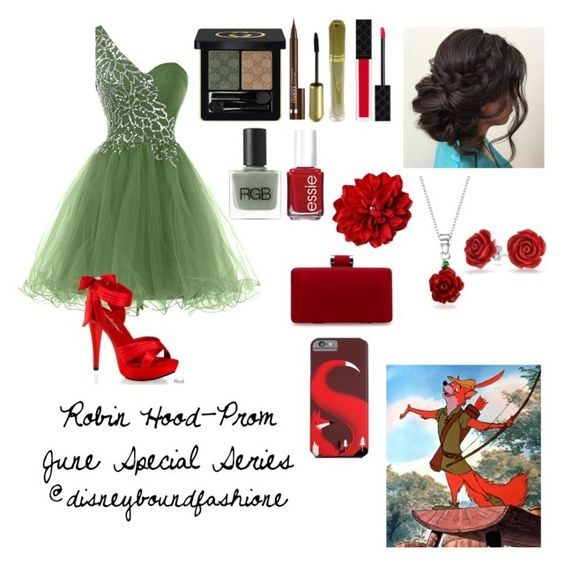 """Robin Hood-Prom-June Special Series"" by disneybound-fashion ❤ liked on Polyvore featuring Disney, Pleaser, Gucci, Clinique, Max Factor, RGB, Essie and Bling Jewelry"
