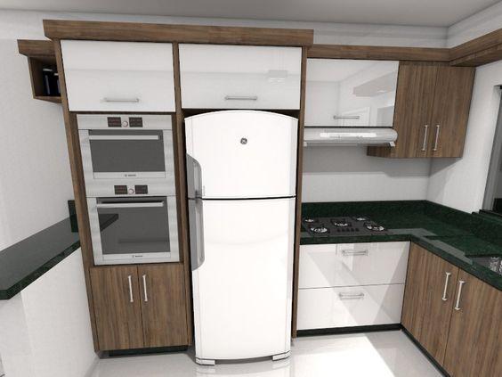 Cozinha, Torre de forno e microondas, geladeira, mdf Branco laqueado