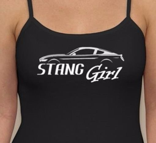 STANG GIRL TANK TOP Jrs Women Cami Black Ford Mustang Fan Bullit Cobra Shelby…
