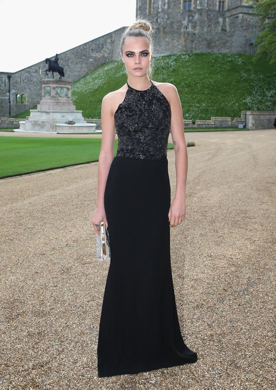 Pin for Later: Mixed Prints and Glam Gowns: This Week's Best UK Style Cara Delevingne A dramatic black halter gown by Ralph Lauren was Cara's choice for the Royal Marsden dinner.