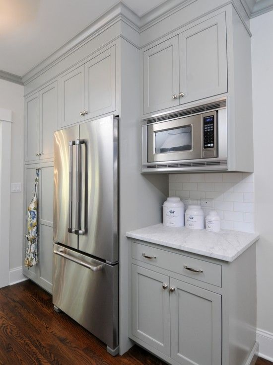 kitchens - gray painted kitchen cabinetry carrara marble countertops white subway tile backsplash nickel hardware stainless steel appliances    Stick with this gray for cabinets and white countertops. White walls to match, dark gray floors, and shade of pale light gray for trim... Or pale gray walls with white trim.