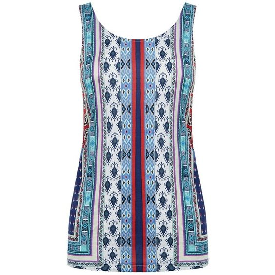 Warehouse Aztec Print Vest Top, Multi (194.815 IDR) ❤ liked on Polyvore featuring tops, aztec tank top, blue tank, blue vest, scoopneck tank and blue top