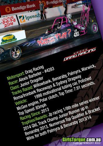 Australian Women in Motorsport Collector/Swap/Trading Card Series  Alexis Barbeler - Drag racer