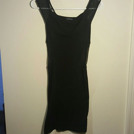 Bebe Black mesh cut out dress Worn once  Perfect for a night out  Mesh cut out bebe Dresses Mini