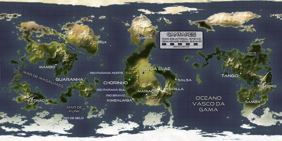 """Planeta Cantares: mapa criado por Diogo de Souza. Muitas das situações da série """"As Lições do Matador"""" acontecem no planeta Cantares. http://galaxis.aquart.com.br/esfera/"""