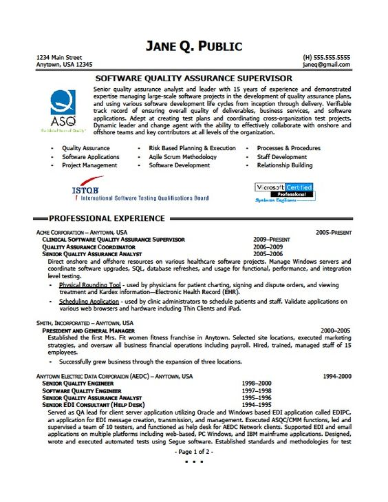 Quality Assurance Supervisor Resume - http\/\/jobresumesample - qa resume