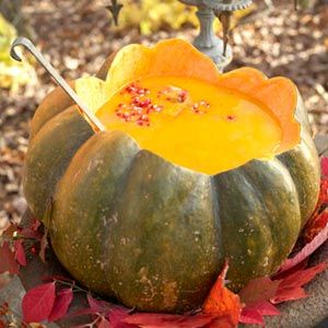 For a lovely decorative autumnal touch, serve soup, like this creamy butternut squash number, from a hollowed-out pumpkin tureen.