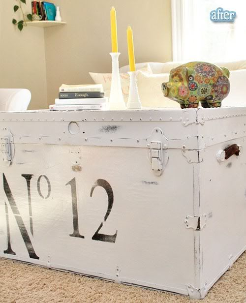 great trunk redo! - white rustoleum white spray paint and hand brushed several coats of clear coat on top after the stencil and distressing. @Anna Asbury