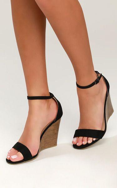 Ramona Black Suede Wedge Sandals   Sandalen mit absatz