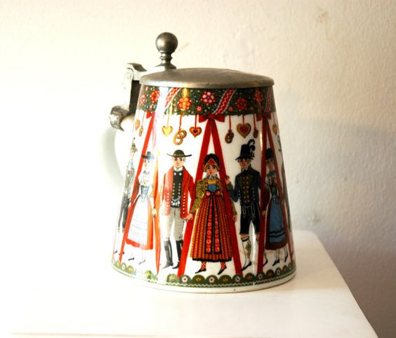 Antique Vintage Bavarian Germany Glass Beer Stein with ...