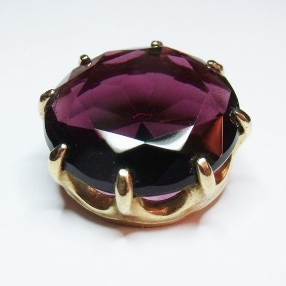 Amethyst Glass Pin Brooch Gold Plated Vintage Jewelry - $25.00 : Rhinestones Past, Vintage Jewelry for Every Age!