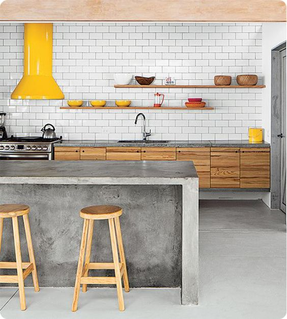 Colourful yellow extractor fan in a kitchen