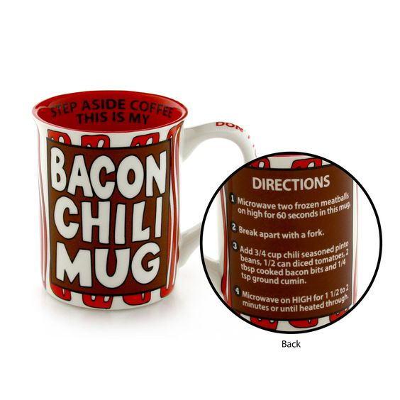 Enesco Our Name is Mud by Lorrie Vesey Bacon Chili Recipe Mug 5.25 Red