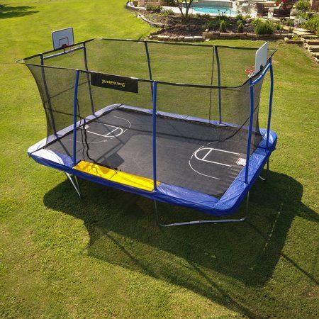 Jumpking Rectangle 10 X 15 Trampoline With 2 Basketball Hoops Footstep And Court Print Blue Yellow Walmart Com Rectangular Trampoline Trampoline Basketball