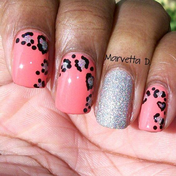 Leopard and glitter!  #nails #nailart