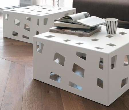 Internally Lit Cutout Consoles - The 'Ice by Europeo' Cube Coffee Tables Features Chic Block Shapes (GALLERY)