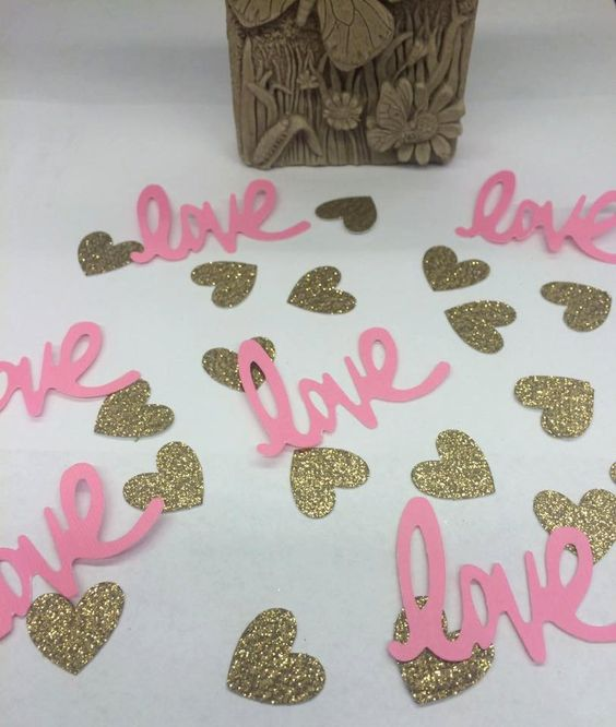Pink and Gold Love Confetti, Bachelorette, Confetti, Pink, Gold, Wedding, Wedding Decor, Bridal Shower, Table Decor, Baby Shower, Princess by ShimmerMyParty on Etsy