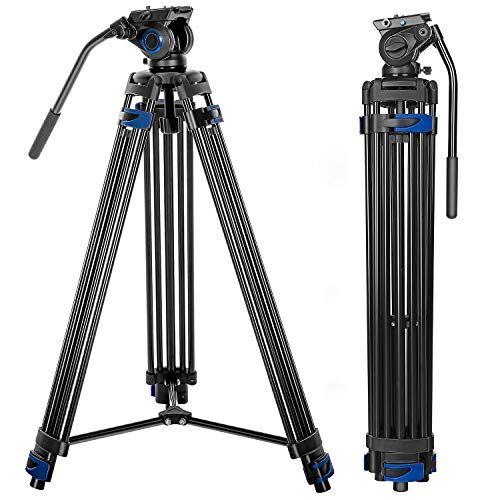 Professional Video Tripod System 72 Inch Aluminum Heavy Duty Twin Tube Camera Tripod With Fluid Head For Dslr Camcorder Max Loading 13 2 Lb Tripod Camera Tripod Camera
