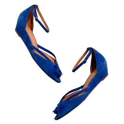 blue suede mini-wedges