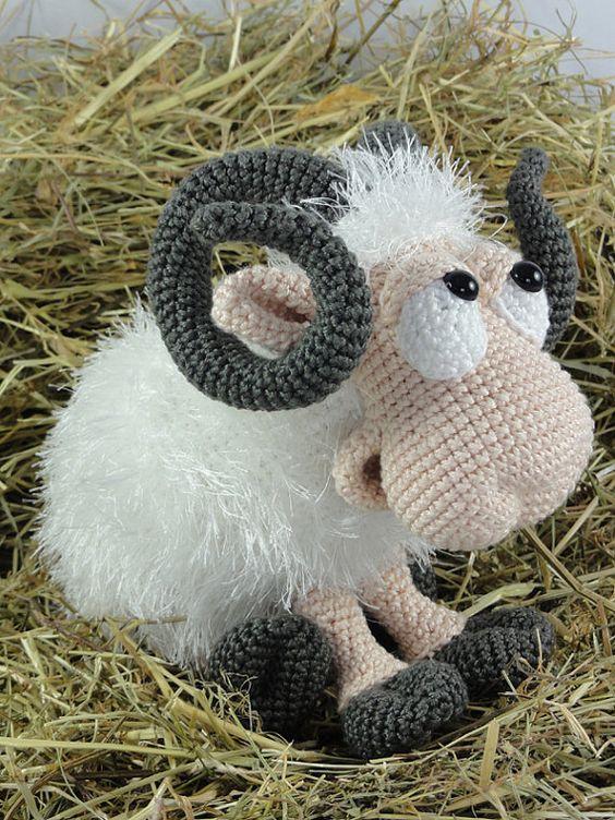 Rambert the Ram Amigurumi Crochet Pattern van IlDikko op Etsy