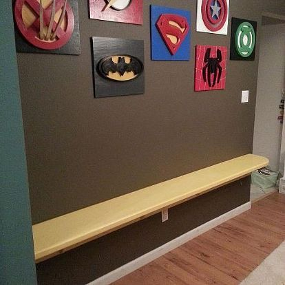my son loves superheroes decorating the playroom, entertainment rec rooms, home decor, added a small desk for playing homework